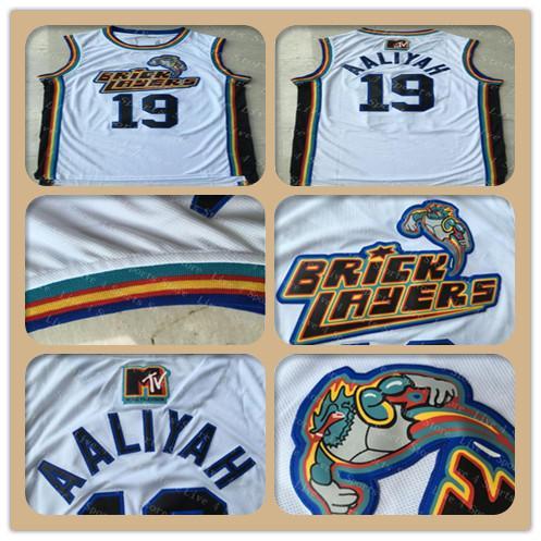 10 штук бесплатно DHL, Мужчины 19 Aaliyah Каменщики Джерси Белый 1996 MTV Rock N Jock Футболки Трикотажные рубашки Aaliyah для баскетбола Fast Shippin