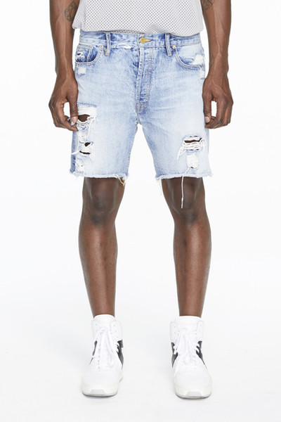Fashion KANYE Men Summer Denim Blue Shorts Hip Hop Streetwear Loose Shorts Jogger Shorts Size M-2XL