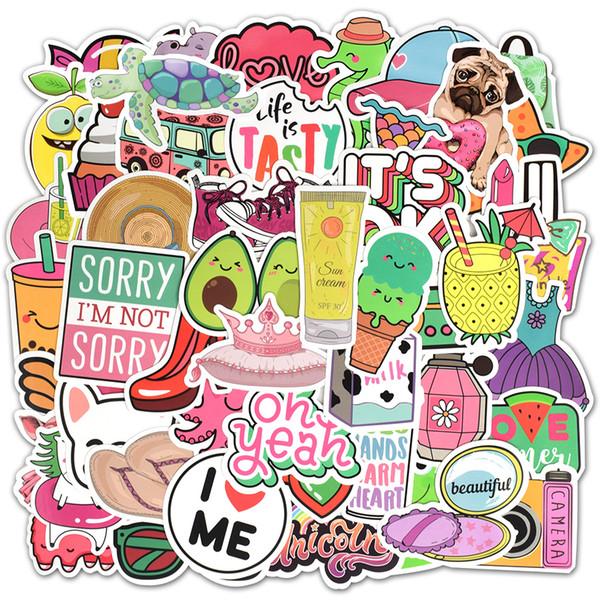 top popular 50 Pcs Waterproof Beach Style Vinyl Stickers for Water Bottle Laptop MacBook Computer Phone Pad for Teen Girls DIY Cute Gifts 2021