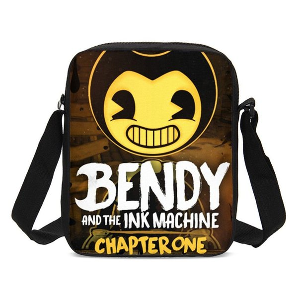 2019 New Crossbody Bags for Kids Boys Girls Cartoon Bendy and The Ink Machine 3D Printing Small Messenger Bag Casual Sling Bag