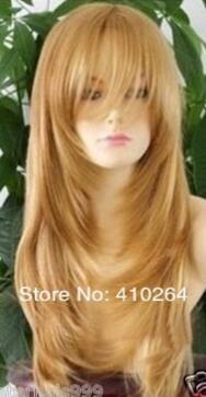 Fine free shipping Beautiful Graceful long yellow Gold Straight women's hair wig