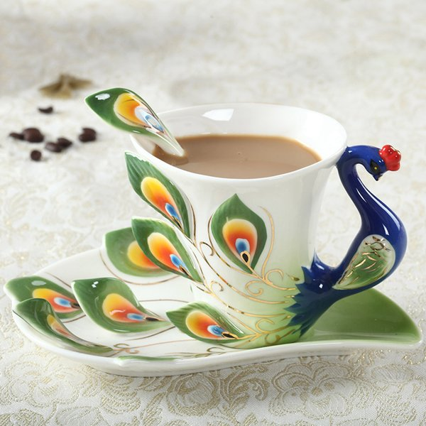 1 Pcs Peacock Coffee Cup Ceramic Creative Cups Bone China 3d Color Enamel Porcelain Cup With Saucer And Spoon Coffee Tea Sets Y19070303