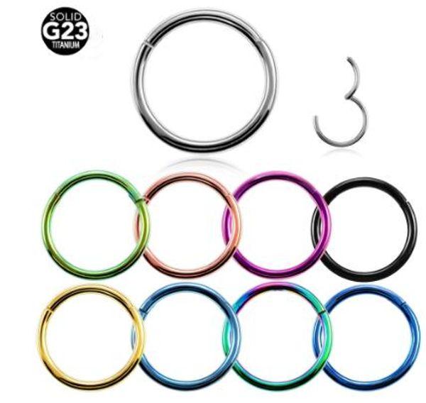 G23 Titanium Hinged Segment Nose Ring 16g&14g Nipple Septum Clicker Ear Cartilage Tragus Helix Lip Piercing Unisex Fashion Jewelry