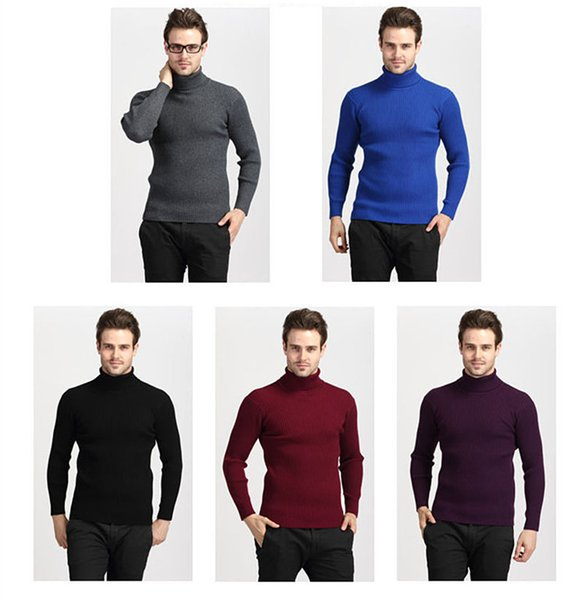 2019 new fashion thermal shirt casual pop mens sweaters long sleeve cotton solid color stretch slim turtleneck knitted pullovers thumbnail