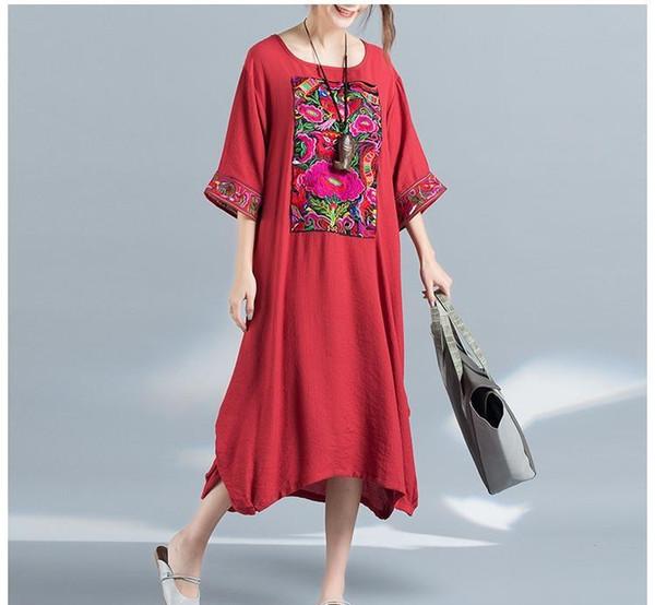 print floral vestido de primavera Outono para as mulheres O pescoço soltas de algodão de linho mulheres estilo étnico vestido preto azul e cores vermelhas