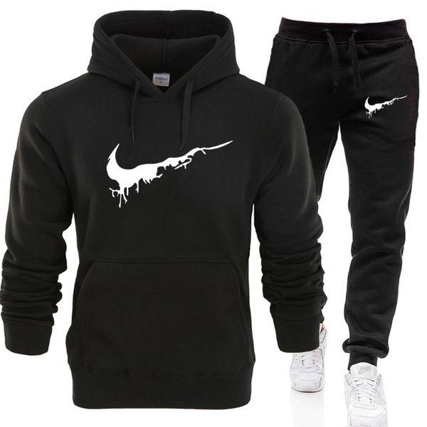 Sonbahar Hoodies Sweatshirt + Sweatpants Suits LOGO Spor takım Hoodie Kazak Erkekler / Kadınlar Casual Sıcak Polar Kapşonlu Kazak Jacke