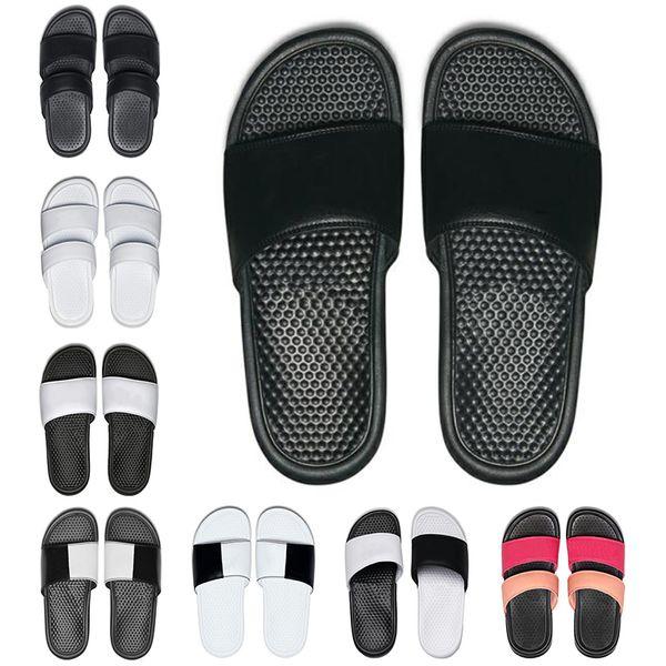 2019 Men Women designer slippers BENASSI summer huaraches slippers black white loafers fashion flats leather luxury Brand slides