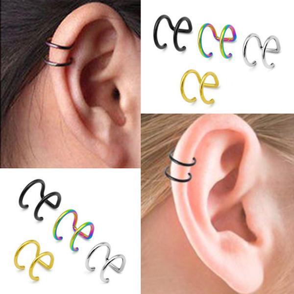 Neue Art und Weise 1 Art Punkfelsen-Ohr-Klipp-Stulpe-Verpackungs-Ohrringe des Stückes 5 kein Durchdringen-Klipp höhlen heraus U-Muster-Aussage-Schmucksache-Geschenk aus
