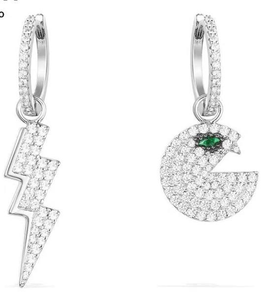 Marca Pure Silver Edición coreana Temperamento Luna Larga Pendientes espárragos Pearl Ear Nail Drop joyería nueva