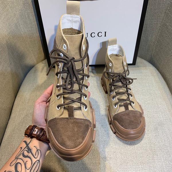 Leder Martin Stiefel Weiblich 2019 Herbst und Winter New Sports Hoch-Spitze Schuhe Short Boot British Wind Art und Weise Weinlese Flache Stiefel
