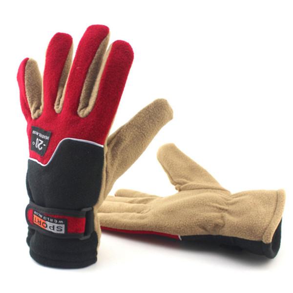Warm Fleece Mittens Mens Women Gloves Winter Wind Warm Cycling Gloves Fleece Sports Full Finger Ladies A2