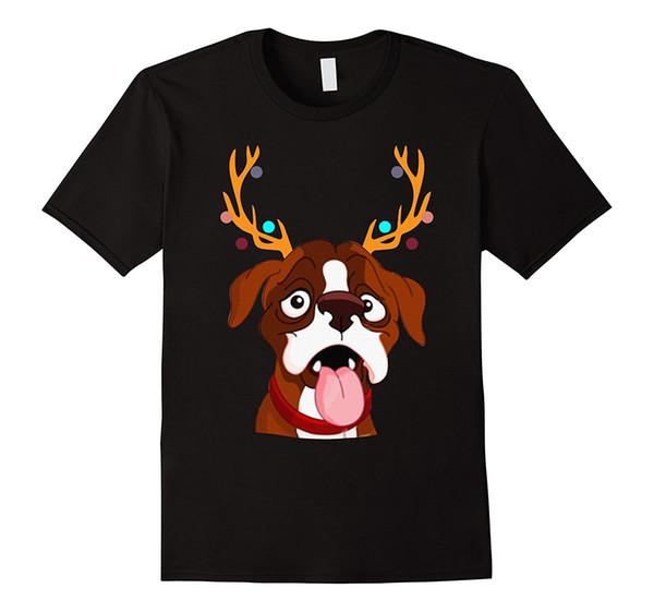 Pugili divertenti di natale con la maglietta di Natale delle corna Maglietta di natale Maglietta casuale manica corta per gli uomini Sconto all'ingrosso T-shirt estiva