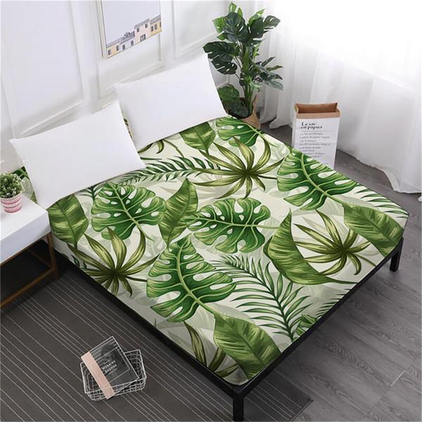 Feuilles De Palmier Tropical Drap Plante Verte Drap-housse Fleurs Imprimé Literie Roi Reine Literie Deep Pocket Home Decor