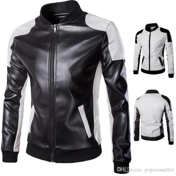 Giacca in pelle da uomo di design da uomo Plus Size Giacca a colletto con cerniera Fly Outwear Giacca da moto uomo moda