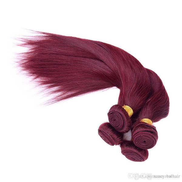 Hot Sale Unprocessed 99j Straight Virgin Hair With Closure #99J Malaysian Human Hair 3 Bundles With Lace Closure 5pcs Lot Red Hair