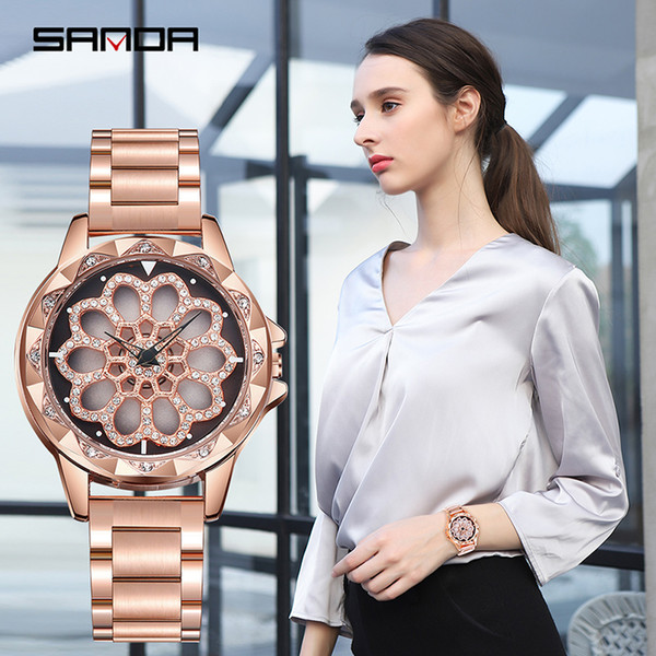 new ladies watch steel belt fashion 360-degree rotation temperament diamond elegance watch waterproof quartz women's