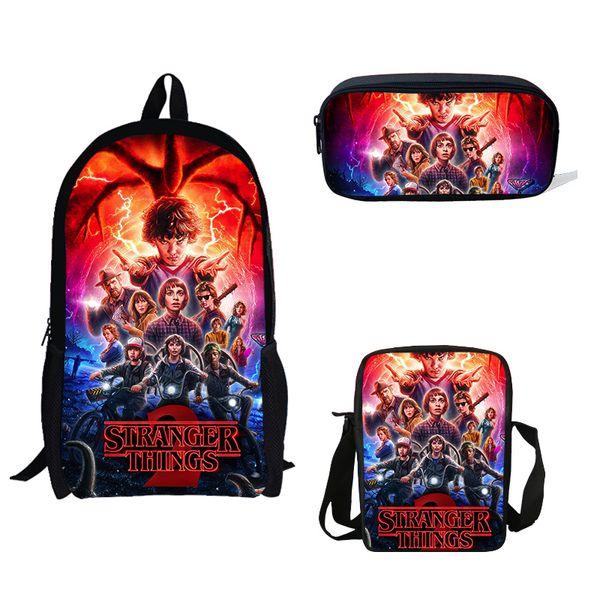 3PS / Set School Bag TV Странные вещи Печатные рюкзак Мини мальчиков Одно плечо сумка Карандаш Ежедневно Рюкзак для детей подарка