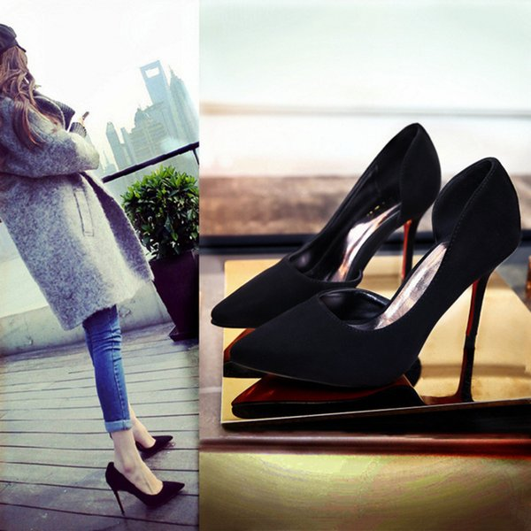 2019 spring and summer fashion simple stiletto heels suede thin shallow mouth pointed side hollow single shoes women's shoes