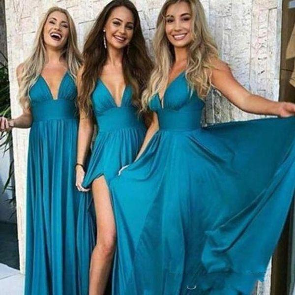 Vestidos de dama de honor de gasa azul turquesa del país barato 2020 Vestidos largos y sexy con cuello en V profundo Longitud total Playa de verano Vestidos de fiesta de baile de talla grande
