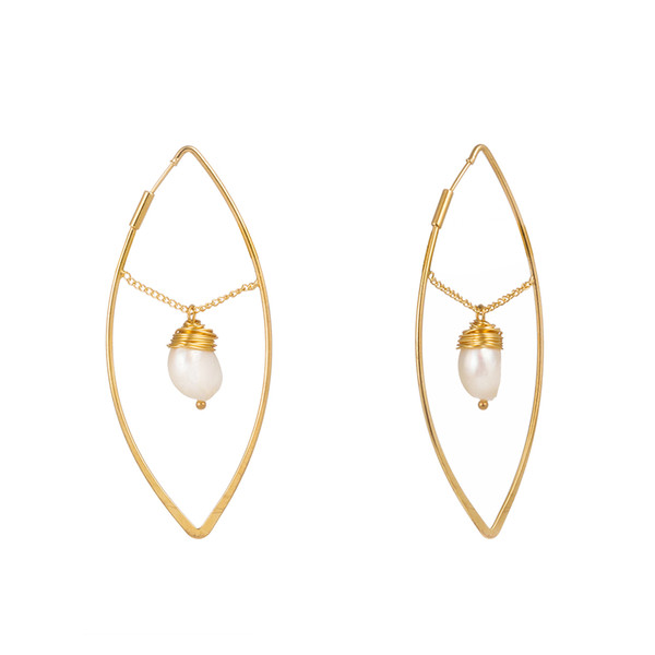 Natural Pearl Shell Earrings Creative Geometric Circle Ear Hook Alloy Natural Freshwater Pearl Earrings Women Fashion Jewelry Accessories