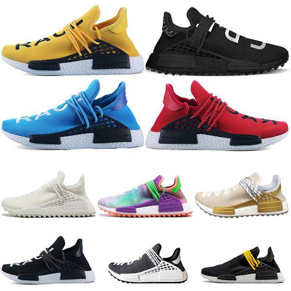 Corrida humana HU Trail Running Shoes Das Mulheres Dos Homens Pharrell Williams Runner HAPPY Nerd Igualdade Creme Amarelo Núcleo Vermelho Preto Esportes Tênis 36-47