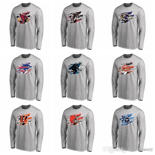 2019 marca de moda T-Shirt ardinals Falcons Ravens Contas Panthers Urso Titans Cores Verdadeiras T-Shirt de Manga Longa