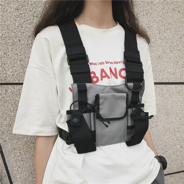 Erkekler Kadınlar Göğüs Rig Çanta Çok cep Yelek Hip Hop Streetwear Fonksiyonel Taktik Koşum Göğüs Rig Paketi Ayarlanabilir Bel Çantası