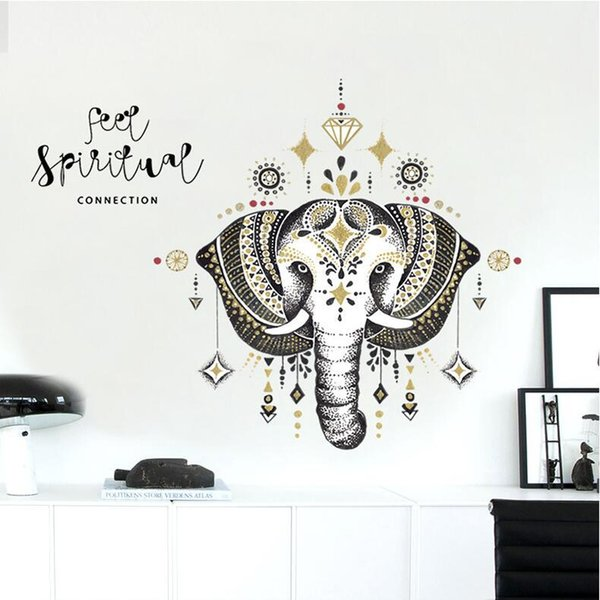 DIY Elephant Wall Art Decals PVC Nordic Animal Wall Sticker Qoutes for Living Room Bedroom Decoration Religous Decals