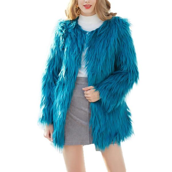 2018 New Luxury Faux Fur Coat Women Fluffy Warm Long Sleeve Female Outerwear Autumn Winter Coat Jacket Hairy Collarless Overcoat