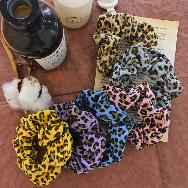 6 colori donne ragazze leopardo archetto stampa animalier anello elastico fermacravatte accessori porta coda di cavallo elastico per capelli scrunchies