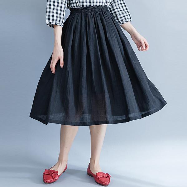 Johnature primavera verano nuevo color sólido suelto coreano una línea de cintura elástica faldas de las mujeres 2019 lino casual joker faldas negro
