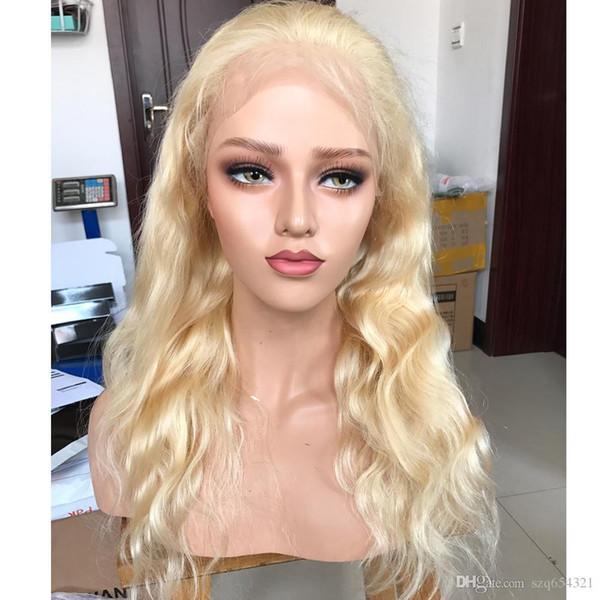 Rubio 613 Pelucas de encaje completo Cabello humano Onda corporal Remy brasileño Pelucas de cabello humano Cabello de bebé para mujeres 130 Densidad Hecho a mano Eseewigs
