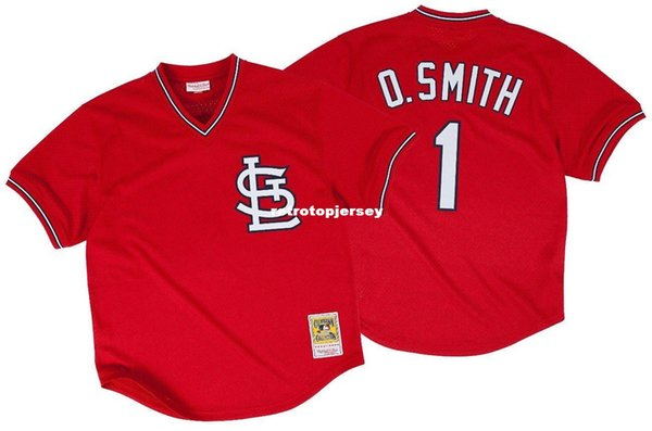 Ozzie Smith St. Louis #1 Mitchell & Ness Retro 1996 Red BP Jersey