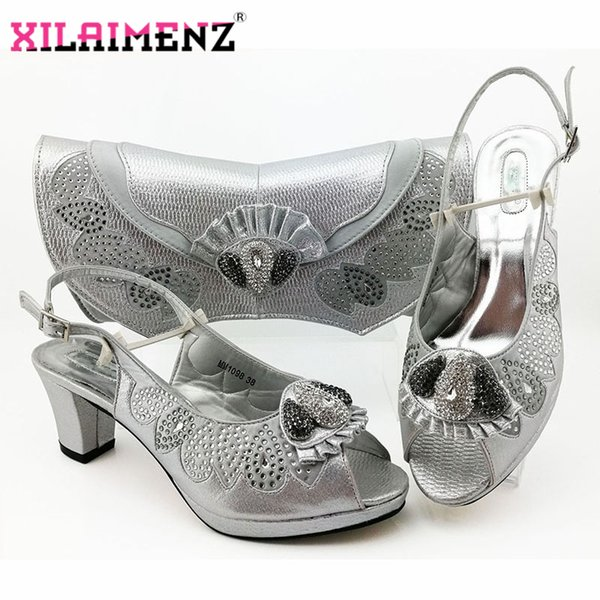Comfortable Heels African Women Shoes and Bag to Match in Silver Color Italian Style with Evening Bag Matching Shoes and Bag Set