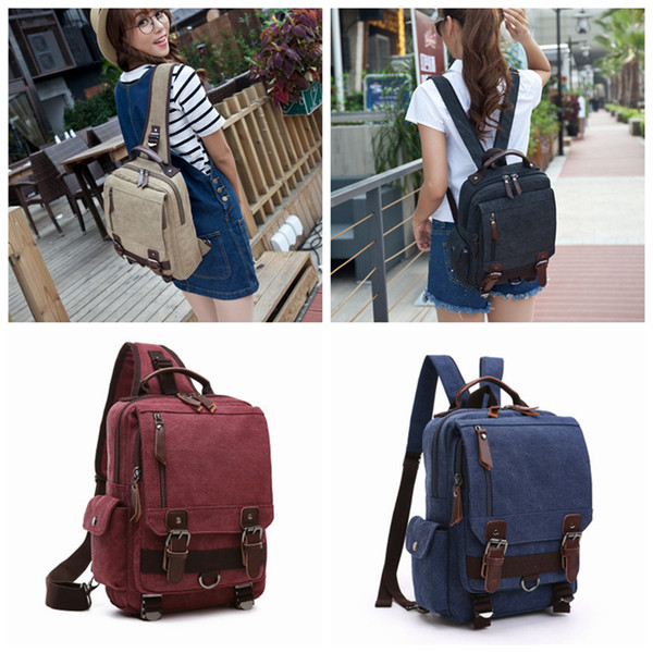 top popular Men Women Vintage Canvas Backpack School Bookbag Rucksack Single Blet Dual Belt Shoulder Outdoor Travel Sport Bag ZZA963 2019