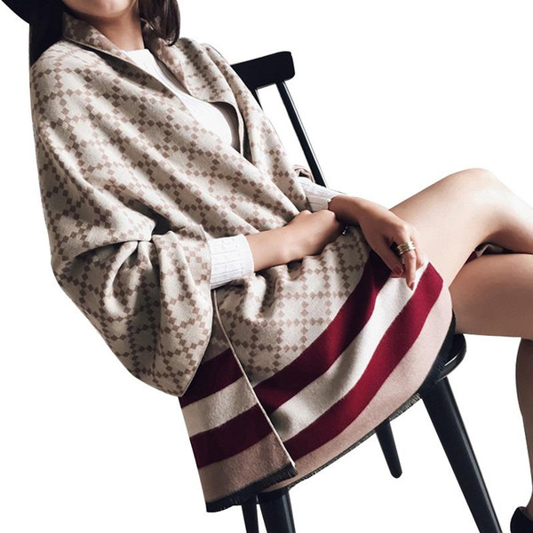 Marca de luxo da manta Lenço por Poncho Inverno Lã Mulheres Faux Cashmere Mulheres Pashmina Inverno roubou Blanket Lenços Feminino Poncho de Lady