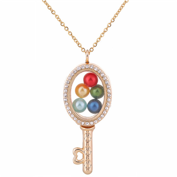 G1292 Pearl Beads Cage Gold Ellipse Key With Rhinestone Magnetic Glass Floating Locket Pendants Women Charms Necklace