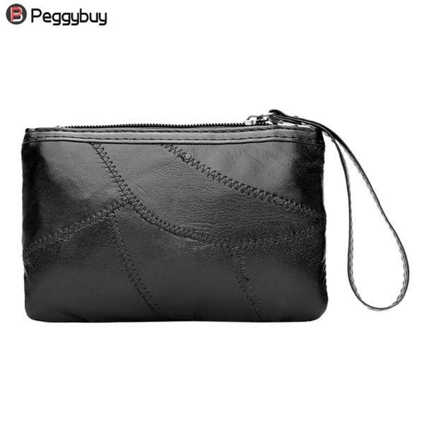 Sencillo Mujeres PU suave del bolso de cuero negro del embrague mitones suaves bolso elegante monedero de la señora partido carpeta larga de las mujeres mini bolsos