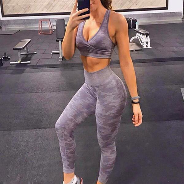 Nahtlose Camouflage Fitness-Gamaschen-Frauen-hohe Taillen-Rennen Sport Gamaschen Sportbund Yoga-Gymnastik Sporthosen Widen