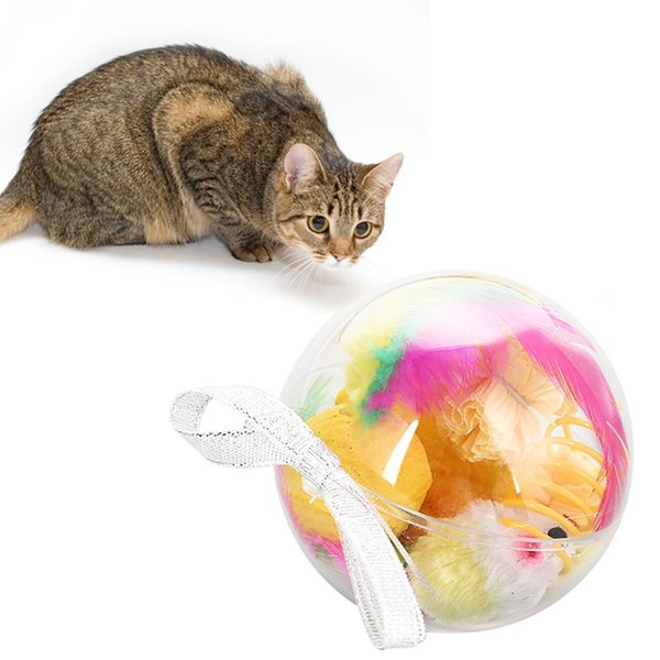 Pet Cats Toys Set Gift Transparent Ball Package Kittens Sisal Ball Mice Spring Funny Playing Toys 7 Pieces Set