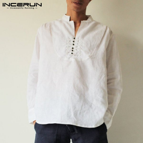 incerun men shirt cotton long sleeve stand collar 2019 solid retro loose button  camisa ethnic style men casual shirts s-3xl