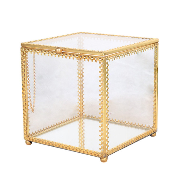 1PC Jewelry Box Transparent Hexagonal High-End Golden Geometric Storage Box For Wedding Decorating Party Jewelry Necklace
