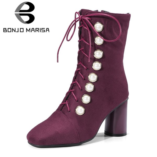 BONJOMARISA Plus Size 32-48 New Square High Heels Shoes Cross Tied Pearl Zip Shoes Woman Casual Retro Winter Spring Ankle Boots
