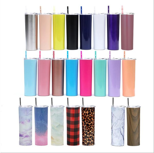 best selling 20oz Skinny Tumbler Stainless Steel Vacuum Insulated Straight Cup Beer Coffee Mug Glasses with Lids and Straws CCA10386-1 25pcs