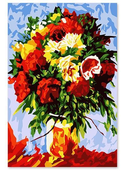 Großhandel Diy Abstrakte Rote Blumen ölgemälde Malen Nach Zahlen Kit Auf Leinwand Für Erwachsene Anfänger Moderne Kunst Malerei Für Home Decorations