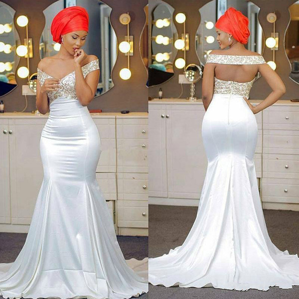 Beautiful Black Girl Off Shoulder Evening Dresses Mermaid Said Mhamad Party Formal Long Prom Dresses Custom Robe De Soiree Pageant Gowns