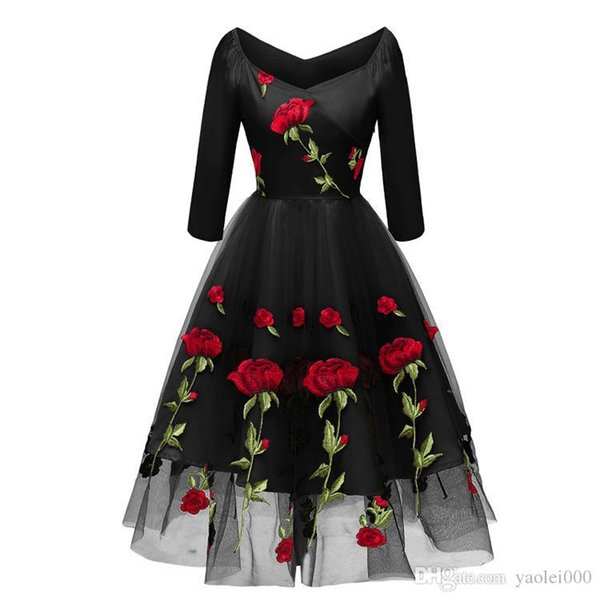 2019 hot sale explosion manufacturers first-hand wholesale quality assurance price guarantee new fashion rose embroidered dress