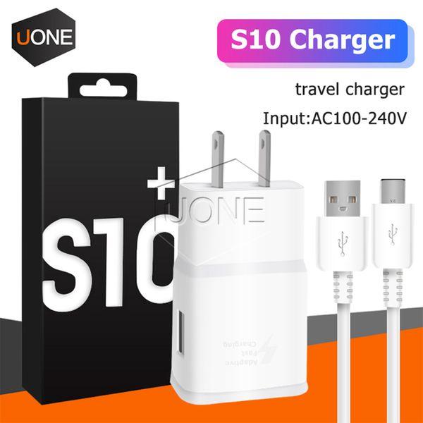 OEM 2 en 1 cargador rápido S10 + kits de tipo c capaces 1.67A 9V UE EE.UU. casa traval la pared del USB adaptador de la carga mejor cable de 1,2 m S10 S9 con el paquete al por menor