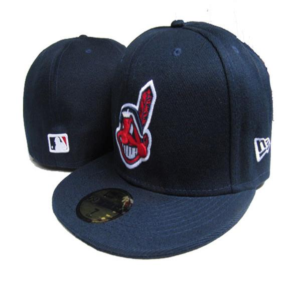 2018 Men Indian fitted hat flat Brim embroidered character Team logo on field fans baseball Hats full closed cap mens womens