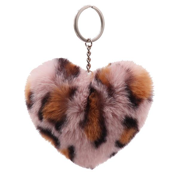 New Fashion 8 Colors Leopard Print Plush Pompom Ball Keychain Fake Rex Fur Key Ring Women Bag Charm Pendant Faux Fur Heart Keyring